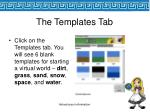 the templates tab