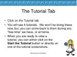the tutorial tab