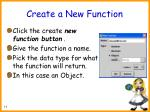 create a new function