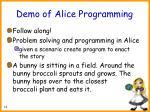 demo of alice programming