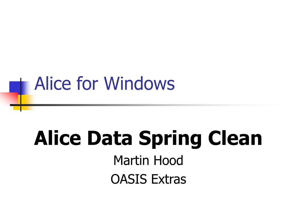 alice for windows l.