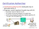 certification authorities