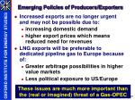 emerging policies of producers exporters
