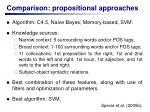 comparison propositional approaches
