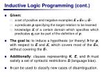 inductive logic programming cont