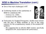 wsd in machine translation cont
