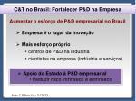 c t no brasil fortalecer p d na empresa