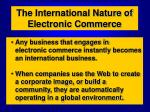 the international nature of electronic commerce