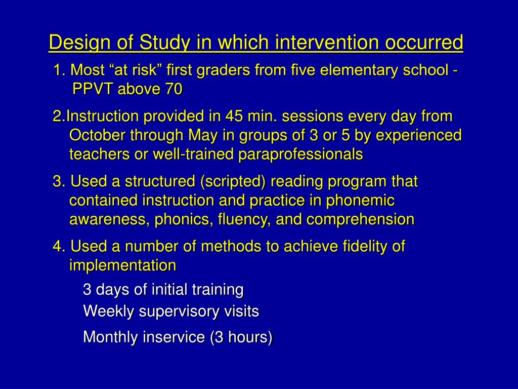 Design of Study in which intervention occurred