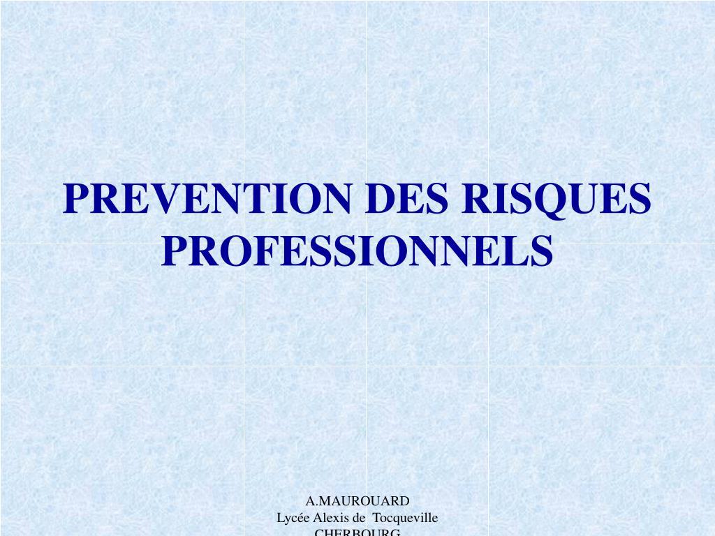 prevention des risques professionnels l.