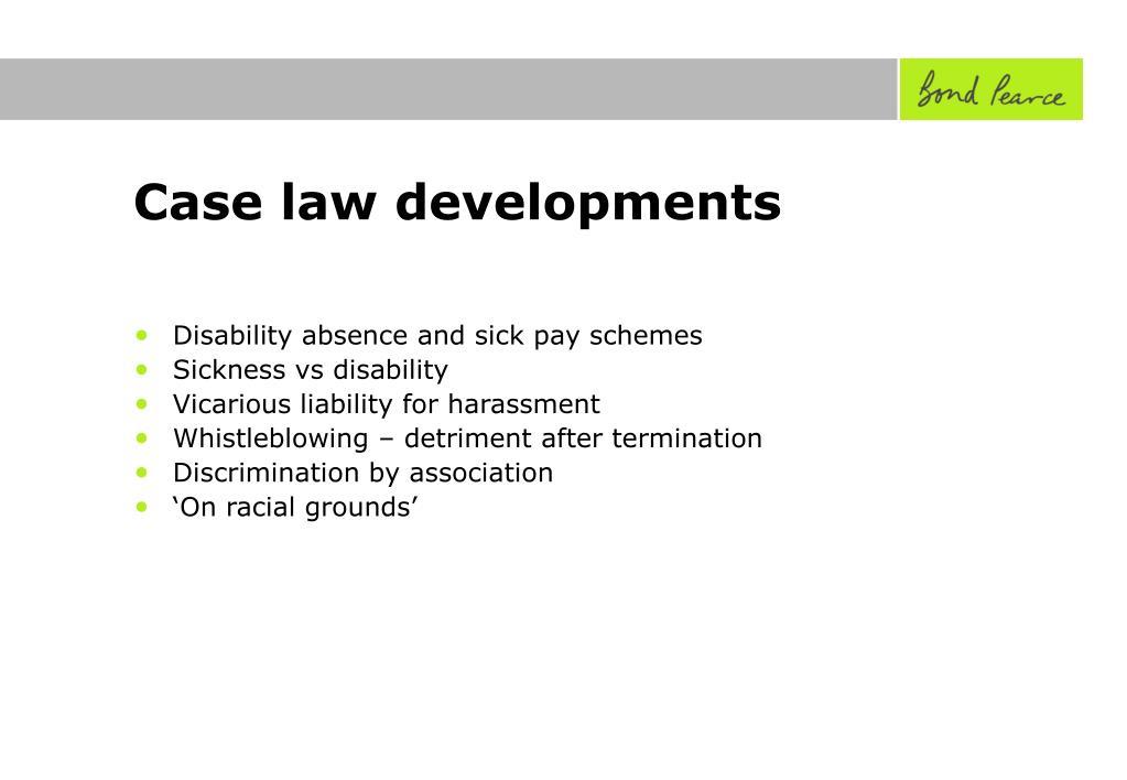 Case law developments