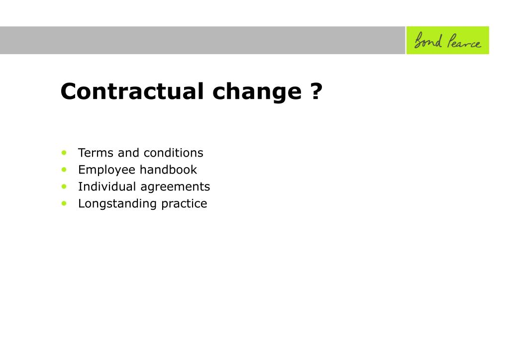 Contractual change ?