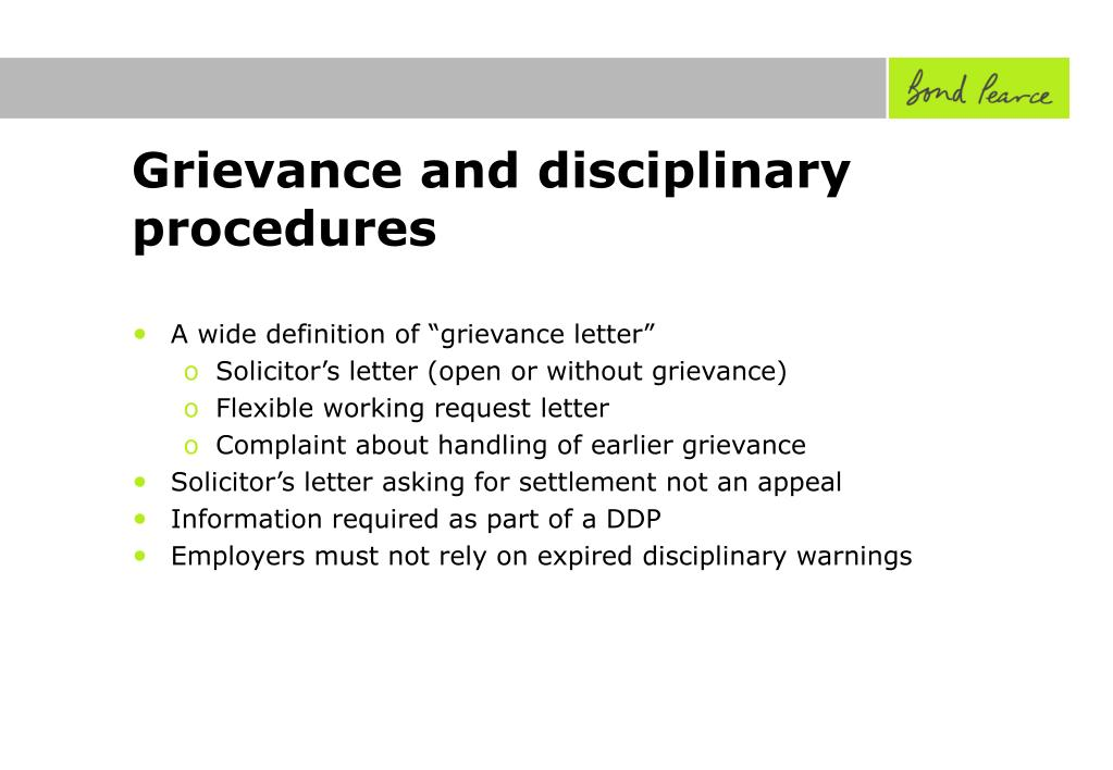Grievance and disciplinary procedures