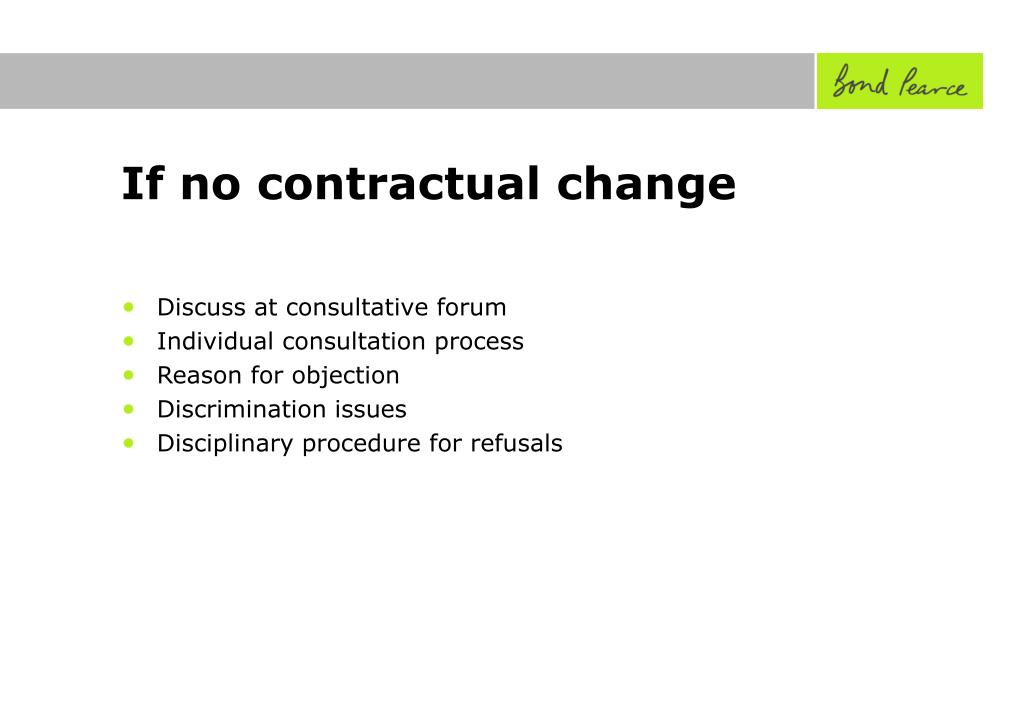 If no contractual change