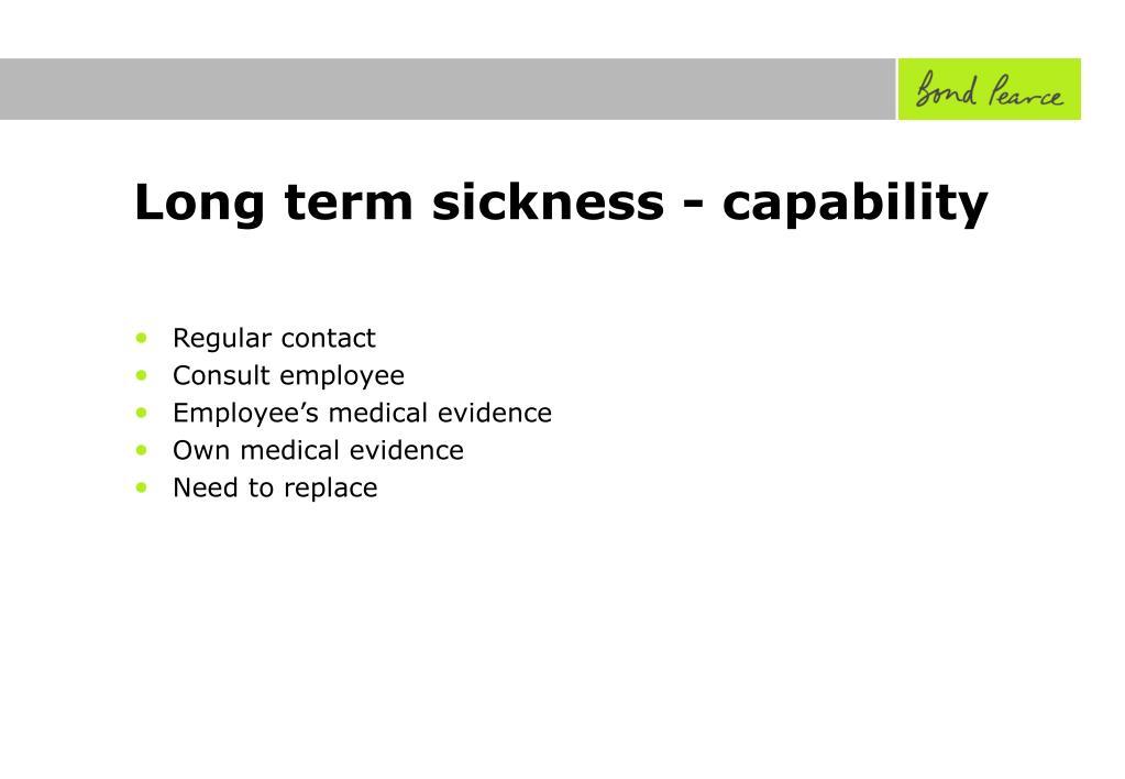 Long term sickness - capability