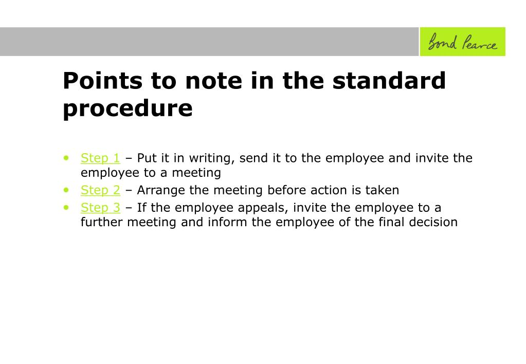 Points to note in the standard procedure