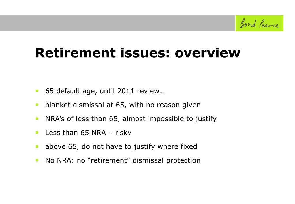Retirement issues: overview