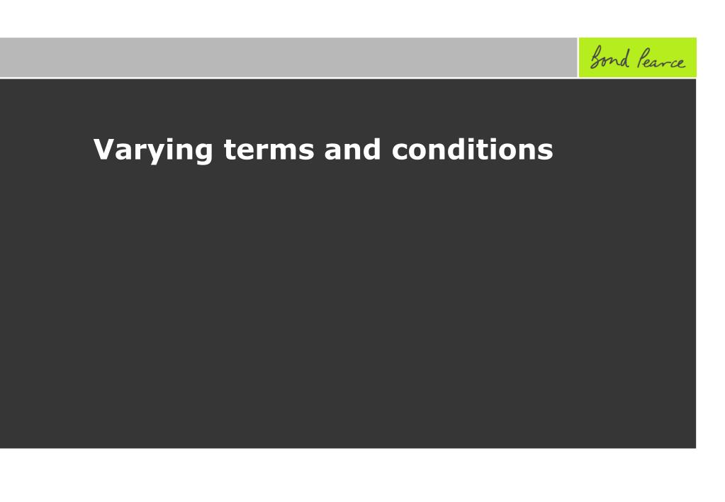 Varying terms and conditions