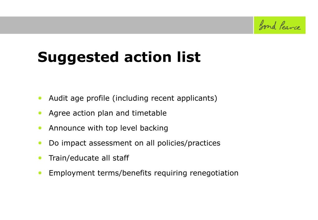 Suggested action list