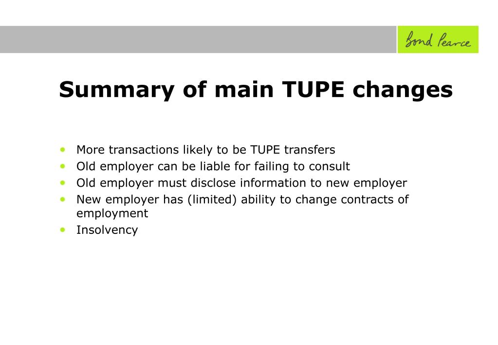 Summary of main TUPE changes