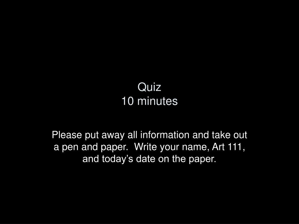 quiz 10 minutes l.