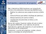 participantes y operaci n del programa