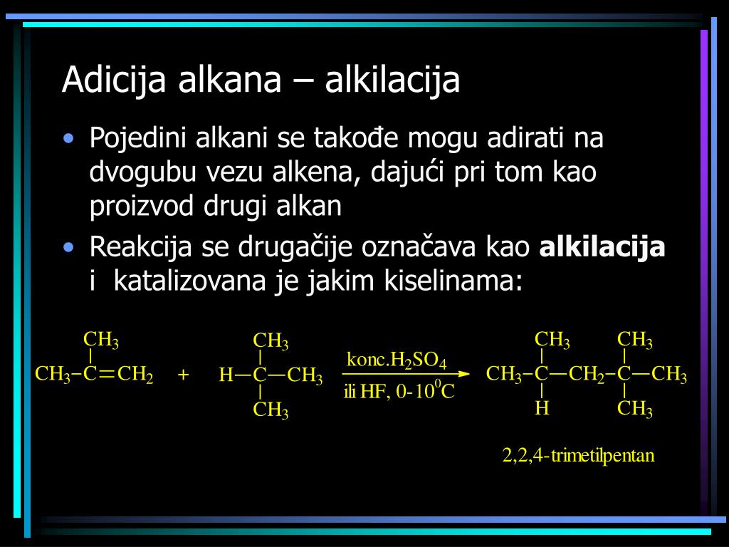 Adicija alkana – alkilacija