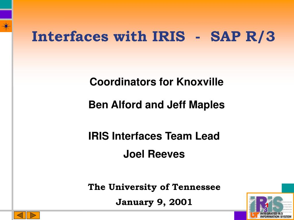 interfaces with iris sap r 3 l.