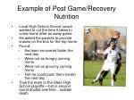 example of post game recovery nutrition