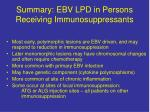 summary ebv lpd in persons receiving immunosuppressants