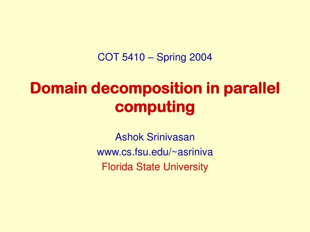 domain decomposition in parallel computing l.
