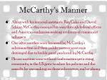 mccarthy s manner