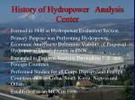 history of hydropower analysis center