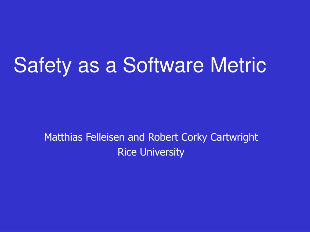 safety as a software metric l.