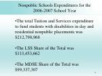 nonpublic schools expenditures for the 2006 2007 school year