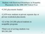 students with emotional disturbance in nonpublic placements for the 2006 2007 school year