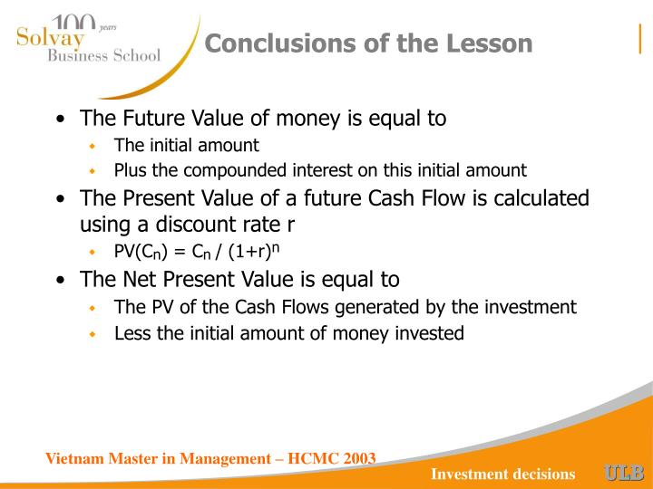 Conclusions of the Lesson