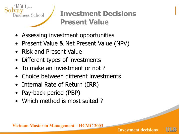 investment decisions present value n.