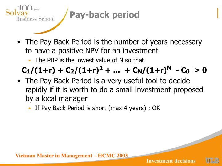 Pay-back period