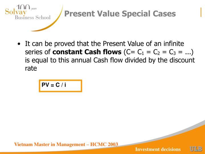 Present Value Special Cases
