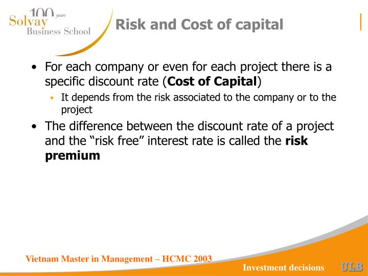 Risk and Cost of capital