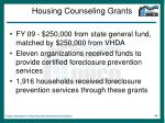 housing counseling grants