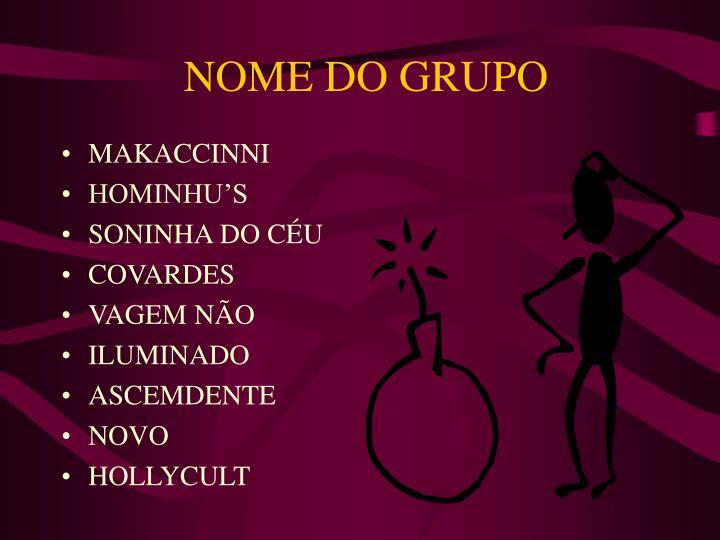 NOME DO GRUPO