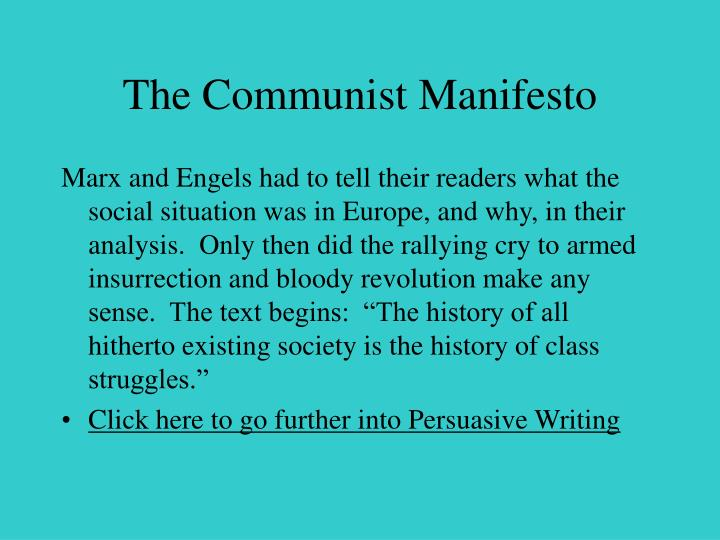 """analysis of the communist manifesto by marx and engels Being commissioned by the communist league karl marx and frederick engels jointly wrote the book, """"the communist manifesto"""", in 1848, that is often."""