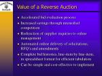 value of a reverse auction