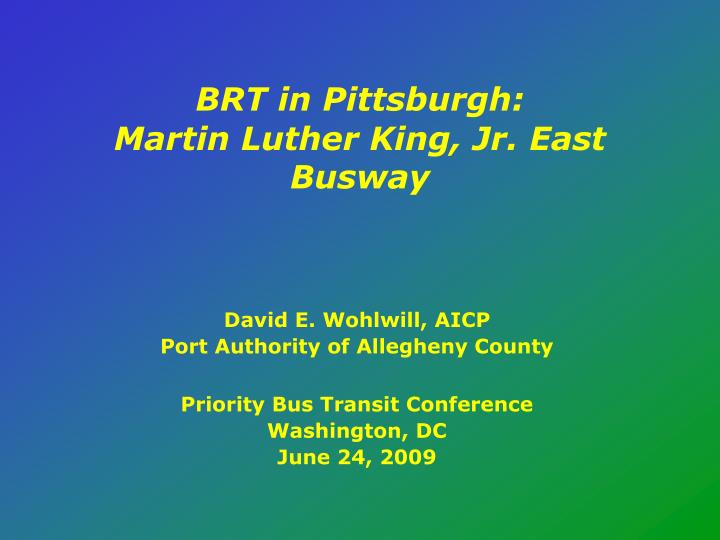 brt in pittsburgh martin luther king jr east busway n.