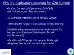 epa pre deployment planning for g20 summit