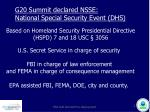 g20 summit declared nsse national special security event dhs