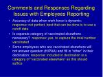 comments and responses regarding issues with employees reporting