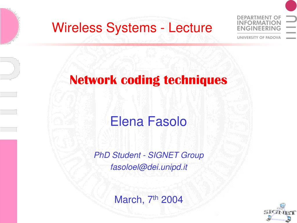 network coding techniques l.
